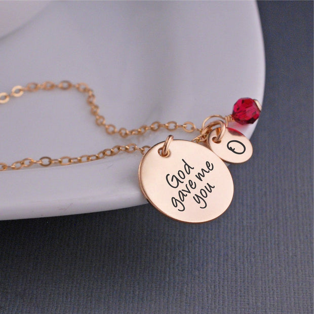 God Gave Me You Charm Necklace in Gold