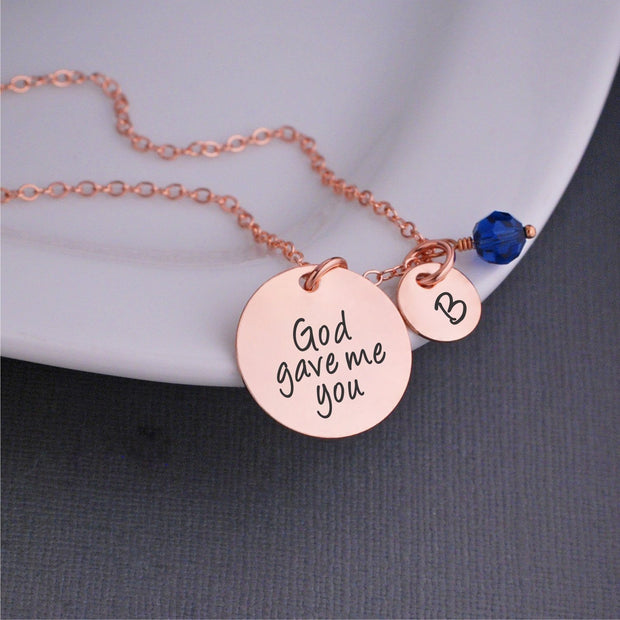 God Gave Me You Charm Necklace in Rose Gold