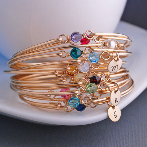 birthstone bangle charm bracelets in gold
