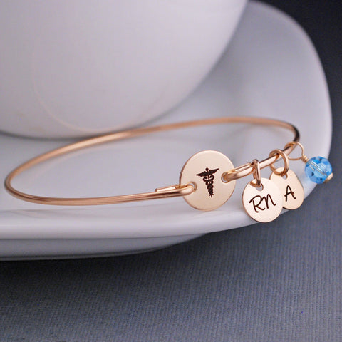 engraved Caduceus Bracelet - gold
