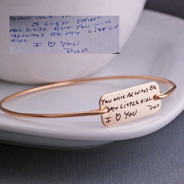 handmade bracelet engraved with custom handwriting