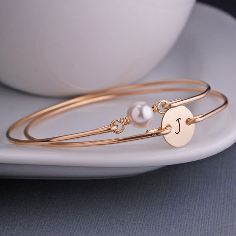 Gold Swarovski Pearl and Gold Initial Bracelet Set