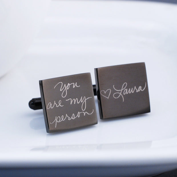 Engraved Custom Handwriting Cufflinks. Square. Gunmetal plated stainless steel. Personalized with message and name. Made by Love Georgie.