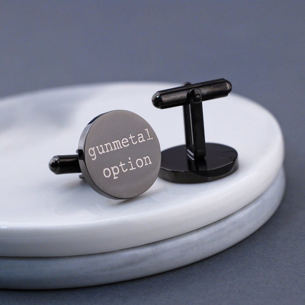 Design your own custom engraved cufflinks. Detail view of round gunmetal plated stainless steel cufflinks by Love Georgie.