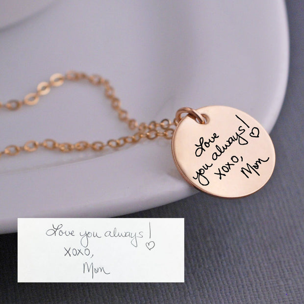 Custom Handwriting Necklace - rose gold