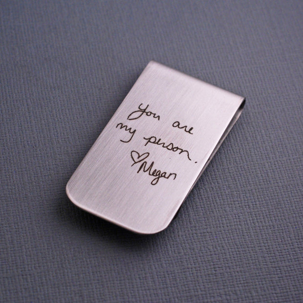 Your Handwriting Engraved on a stainless steel money clip