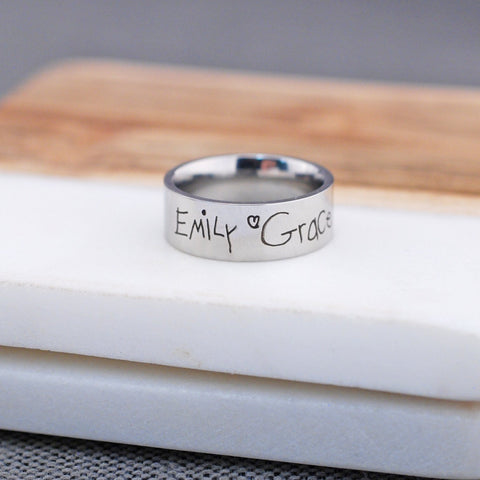 Handwriting Ring - 8mm Wide Band