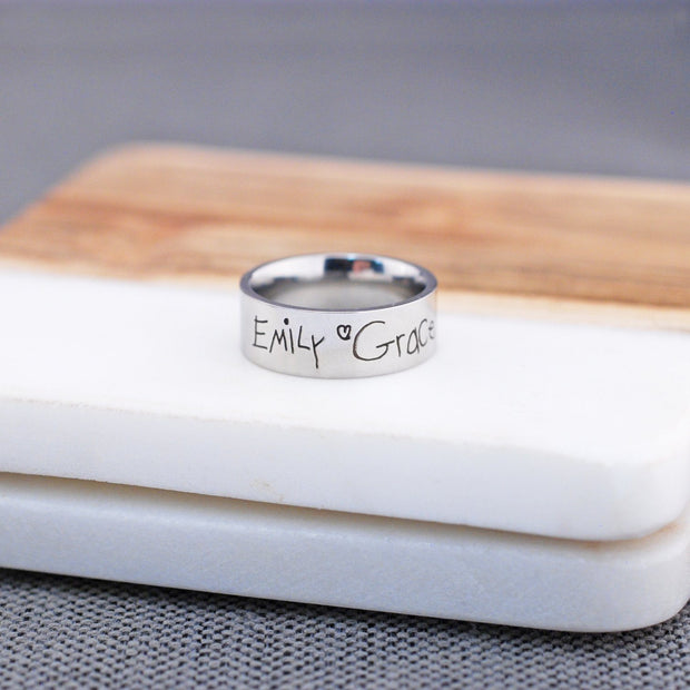 Handwriting Ring - 8mm Wide Band – Ring – Love, Georgie