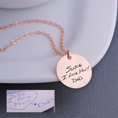 Custom Handwriting Necklace 3/4 inch