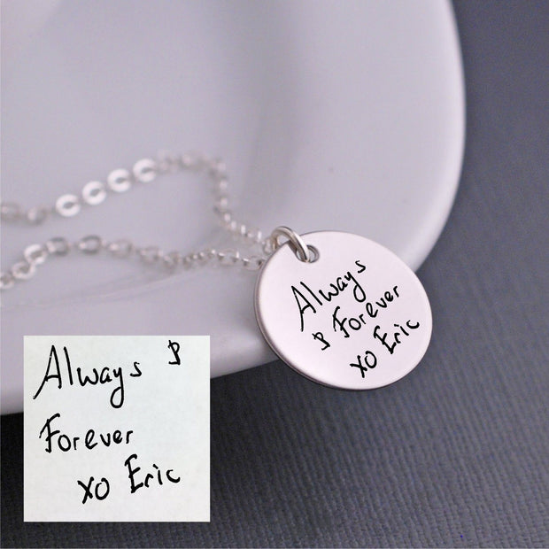 Custom Handwriting Necklace - silver