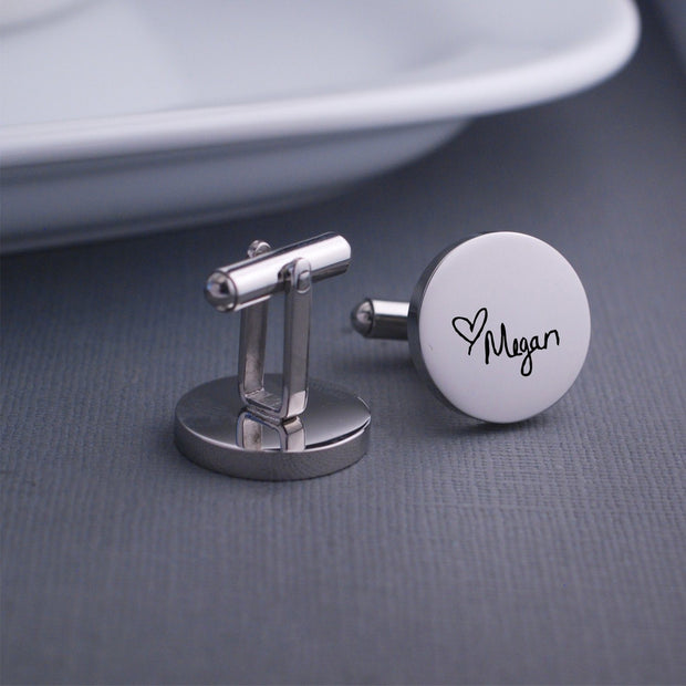 'You are My Person' Engraved Cufflinks in Custom Handwriting. Detail view of Round Stainless Steel Cufflinks by Love Georgie.