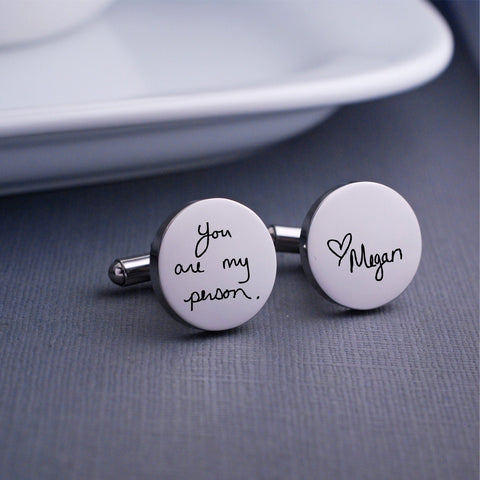 Engraved Custom Handwriting Cufflinks. Round. Stainless steel. Personalized with message and name. Made by Love Georgie.