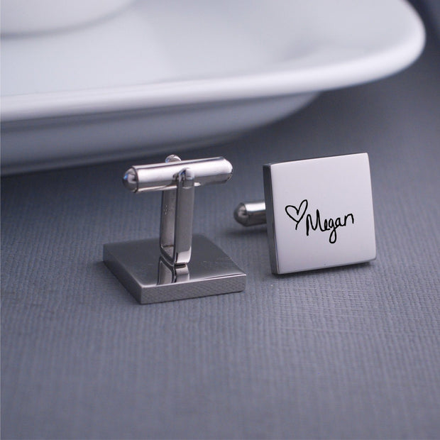 'You are My Person' Engraved Cufflinks in Custom Handwriting. Detail view of Square Stainless Steel Cufflinks by Love Georgie.