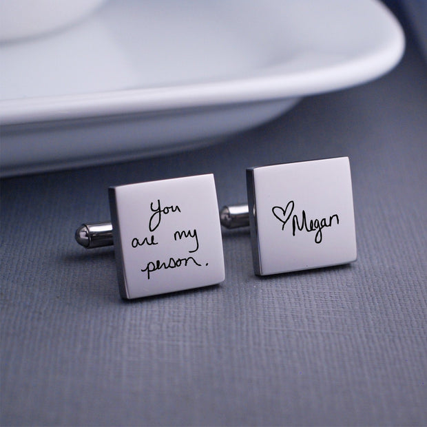 Engraved Custom Handwriting Cufflinks. Square. Stainless steel. Personalized with message and name. Made by Love Georgie.