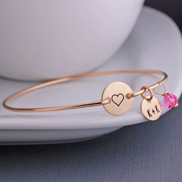 Engraved Heart Bangle Bracelet – bracelet – Love, Georgie