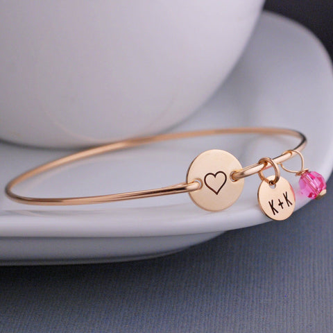 Engraved Heart Bangle Bracelet