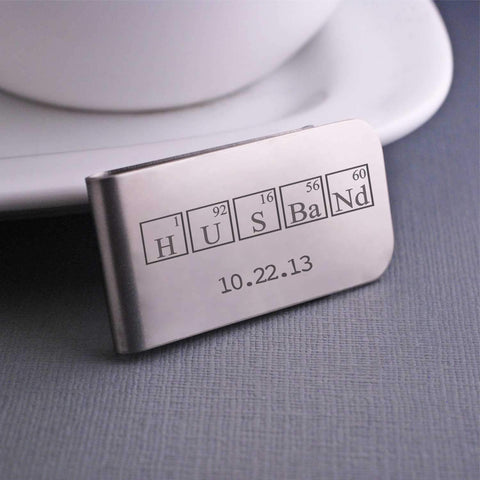 "Engraved Steel ""Husband"" Money Clip by Love Georgie"