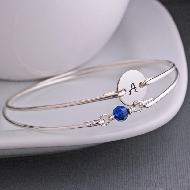 Birthstone and Initial Bangle Bracelet Set