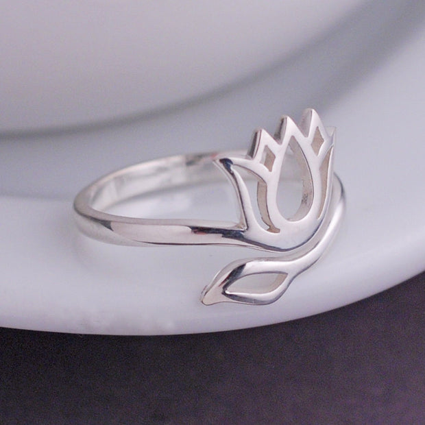 Silver Lotus Ring – Ring – georgie designs personalized jewelry