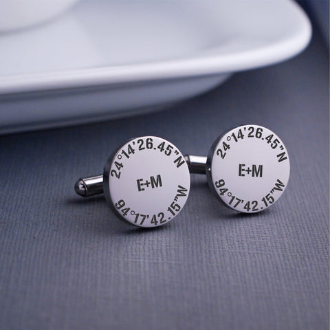 Personalized Latitude Longitude Cufflinks
