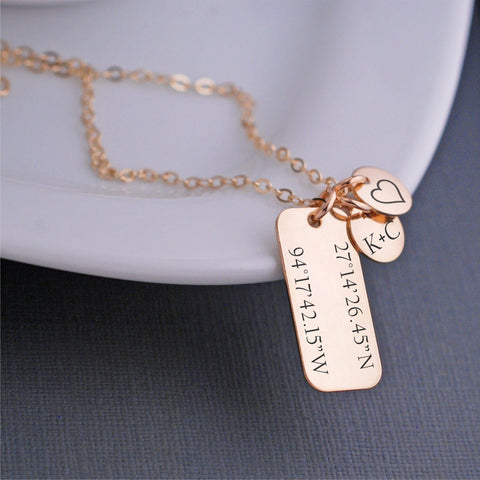 lat long necklace - coordinates