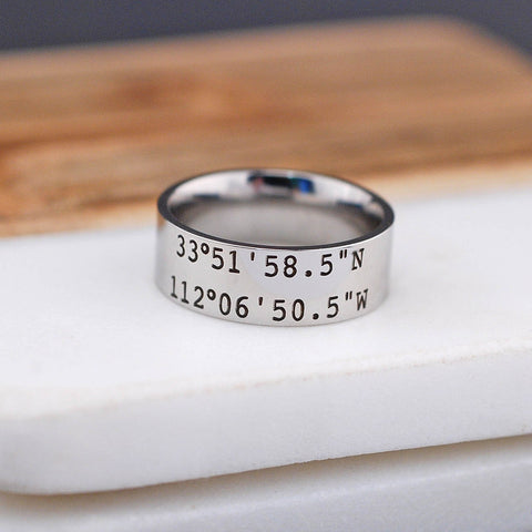 Latitude Longitude Ring - 8mm