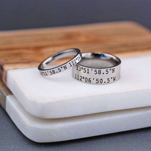Latitude Longitude Ring - 8mm – Ring – Love, Georgie