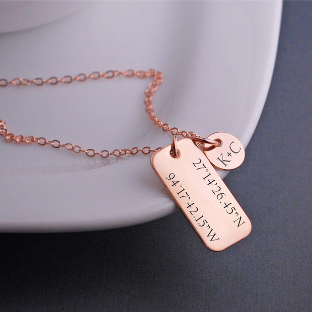lat long necklace - rose gold
