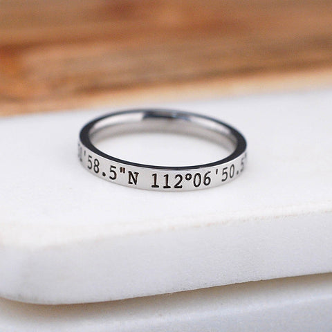 Latitude Longitude Ring - 3mm
