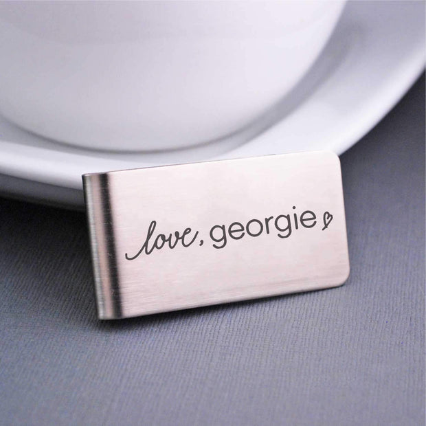 Corporate Logo Money Clip in Stainless Steel with Love Georgie logo