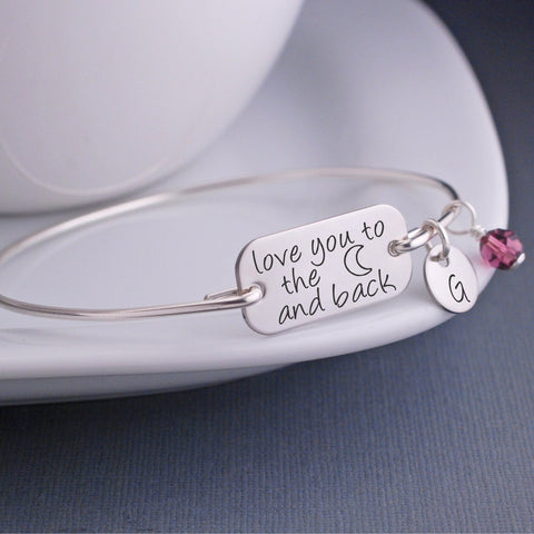 Moon and Back Bangle Bracelet - silver