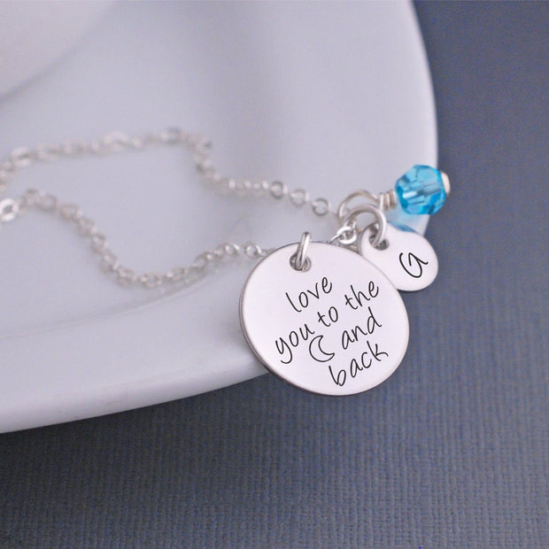 love you to the (moon) and back necklace - silver
