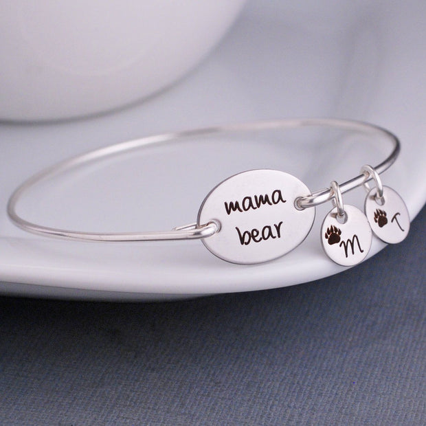 mama bear bangle bracelet - optional charms