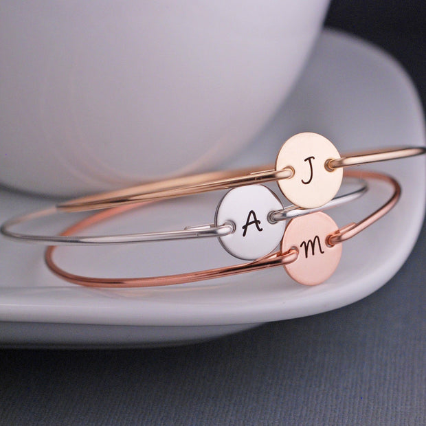 Single Initial Bangle Bracelets – bracelet – Love, Georgie