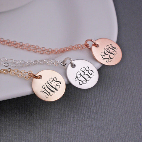 Monogram pendant necklace shop jewelry gifts for her love georgie monogram pendant necklaces rose gold monogram necklace gold monogram necklace aloadofball Gallery