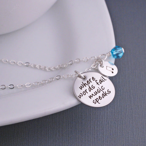 Where Words Fail Music Speaks Necklace - Silver