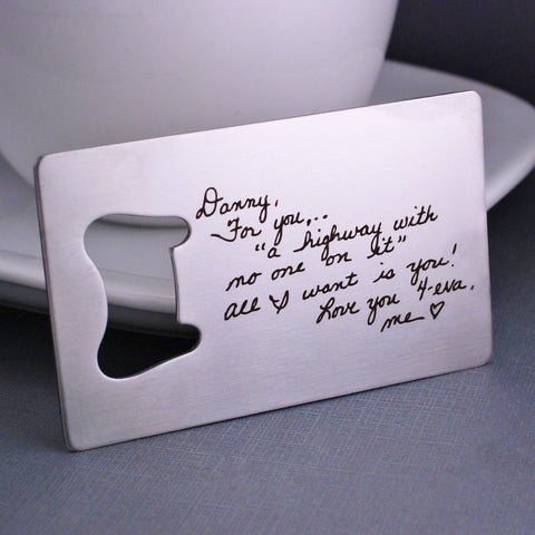 Custom Handwriting Bottle Opener