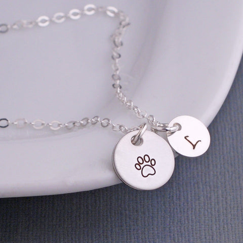 Paw Print Necklace - Silver