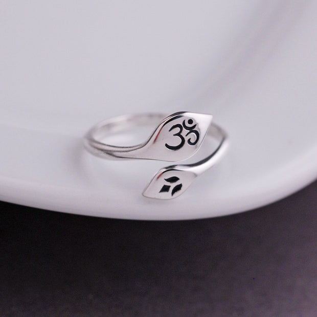 Om and Lotus Adjustable Ring