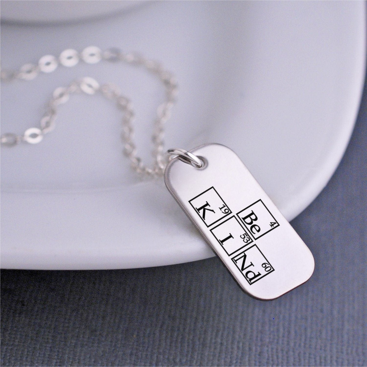 Engraved Periodic Table Necklace W Be Kind Elements Love Georgie