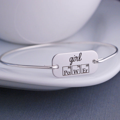 Girl Power Periodic Table Bangle Bracelet - silver