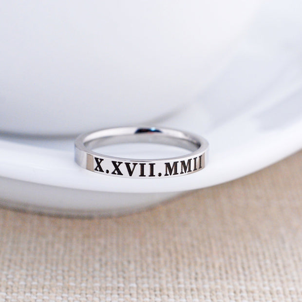 Roman Numeral Ring - 3mm