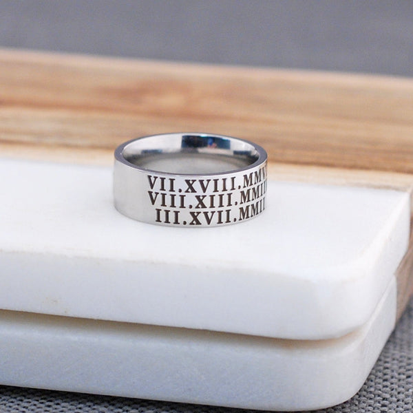 Groom Gift - Latitude Longitude Coordinates Ring - Stainless Steel