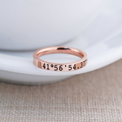 Rose Gold Latitude Longitude Ring - 3mm