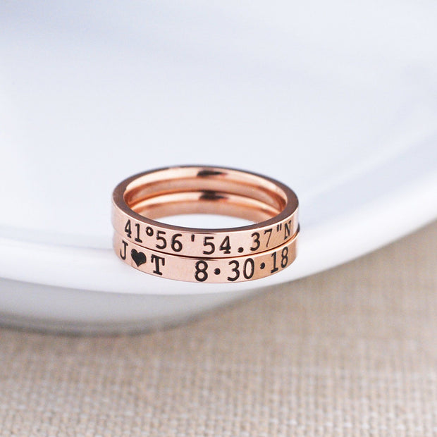 Rose Gold Latitude Longitude Ring - 3mm – Ring – Love, Georgie