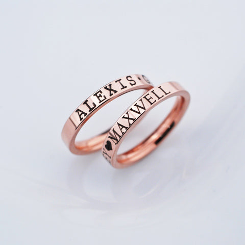 Rose Gold Name Ring - 3mm