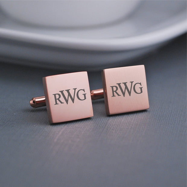 Custom Engraved Monogrammed Cufflinks. Square 14k rose gold plated stainless steel cufflinks by Love Georgie.