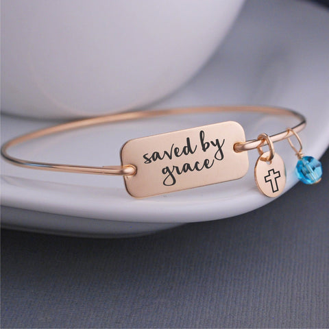Saved By Grace Bangle Bracelet