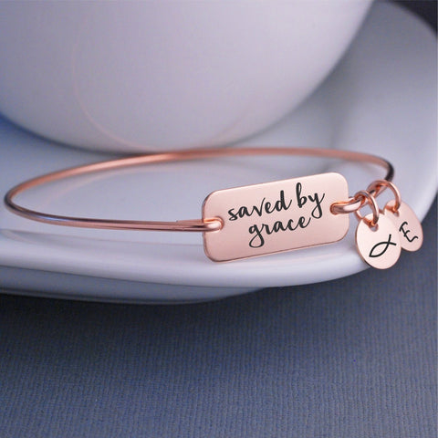 Saved By Grace Bangle Bracelet in Gold