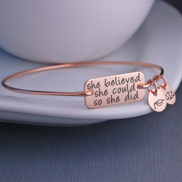 she believed she could so she did bracelet rose gold